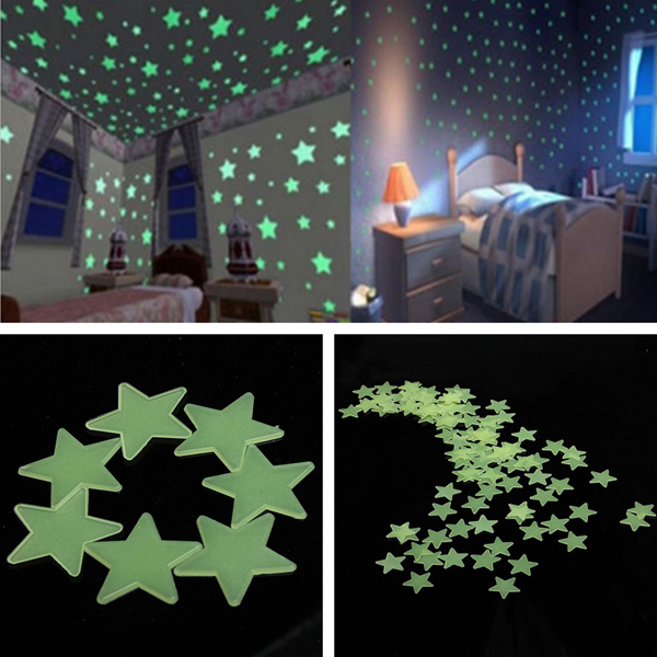 3cm 100PCS Fluorescent Glow Star Wall Sticker glow in the dark dog footprint style decoration wall paper sticker green