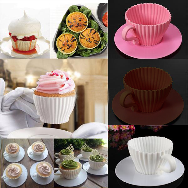 4pcs Cupcakes Muffin Baking Mould Chocolate Tea Cup Case