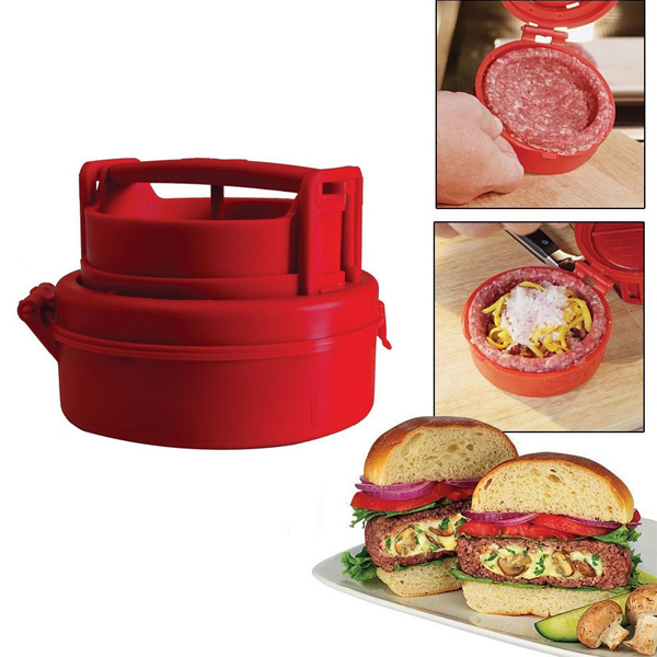 Stufz Stuffed Hamburger Burger Press Meat Pizza Stuffed Patty Maker - EachineMeat Tool<br>Description: Make the stuffed burgers like a pro with the Stuffed Hamburger Press Maker. Make mouth watering delicious burgers stuffed with your favorite filling, cheese, mushrooms, garlic, onions whatever your favorite ingredients. A Stufz made burger keeps all of the tasty goodness sealed inside. The even thickness ensures that your stuffed burger is cooked to perfection. Features&amp;details: Material: Edible Grade Plastic Dimensions: 4.8 x 2.4 x 7 inches Package Include:1 X Stuffed Hamburger Press Maker<br>