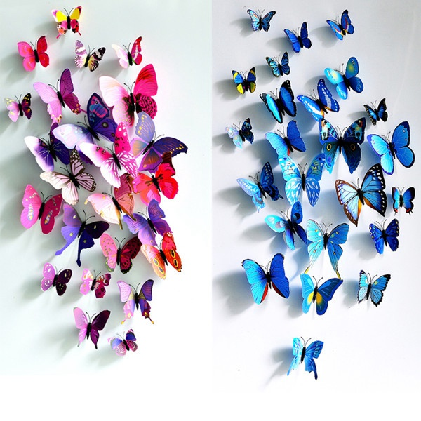 12Pcs 3D Butterfly Wall Sticker Fridge Magnet Home Decor Art Applique aomei 0168 bunny pattern pvc decor toilet sticker black large size