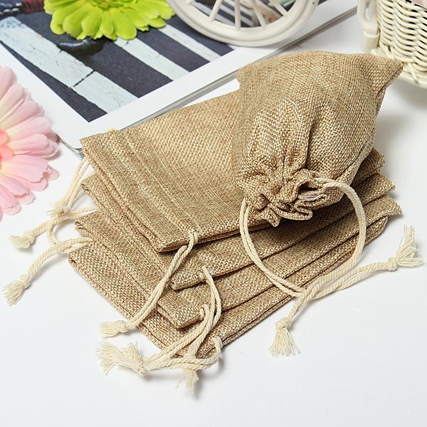 Faux Burlap Hessian Mini Bags Rustic Wedding Favor Gift Bag at ...