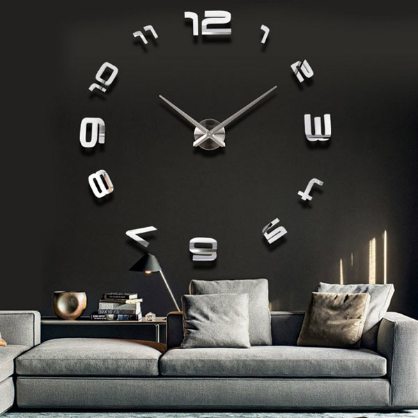 3d large sliver modern diy home decor mirror wall clock sticker at banggood