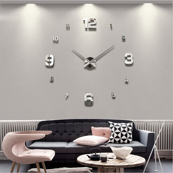 Large diy 3d wall clock home decor mirror sticker art at for 3d acrylic mirror wall sticker clock decoration decor