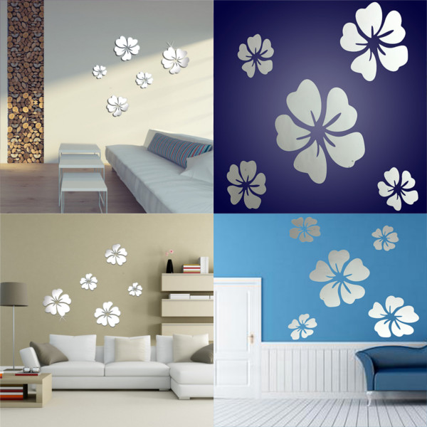 5Pcs DIY 3D Flowers Mirror Wall Sticker Home Bedroom Office Decoration
