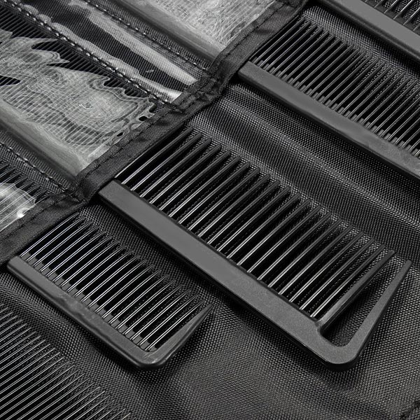 9pcs Carbon Fiber Hairdressing Styling Antistatic Heat Resistant Hair Comb Set With Case
