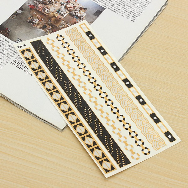 Gold Chain Metallic Temporary Tattoos Body Art Sticker