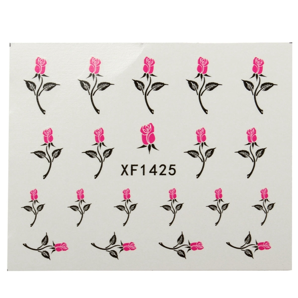 Flower Rose Butterfly Pattern Water Transfer Nail Art Sticker Decal