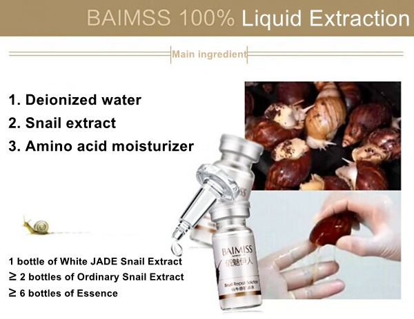 BAIMISS Whitening Moisturizing Essence Snail Pure Extract Acne Repair Solution