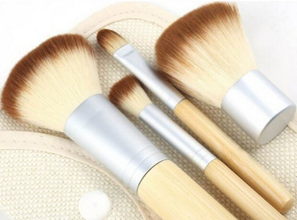 4PCS Bamboo Handle Makeup Brush Powder Blush Brushes Cosmetics Set
