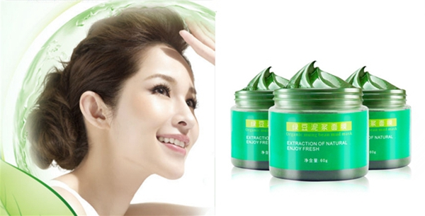 Mung Bean Mud Facial Mask Acne Treatment Blackhead Remover