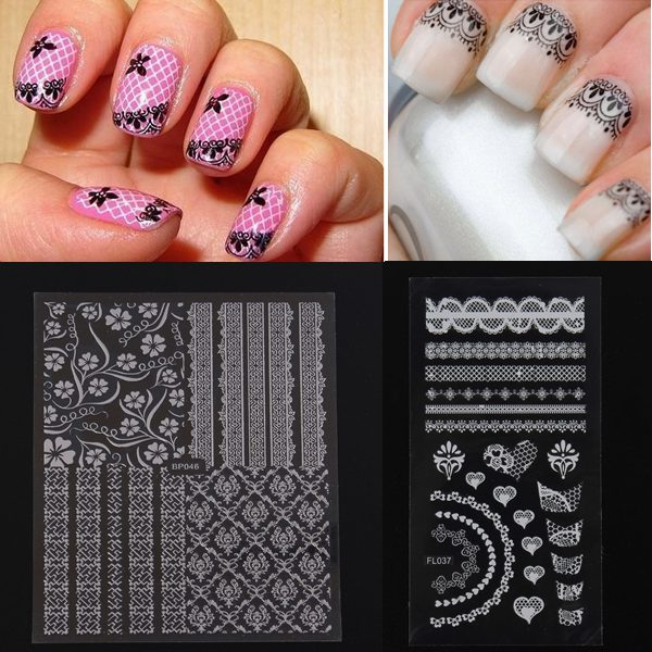 Black White Adhesive Lace Flower Design Nail Art Sticker Decal
