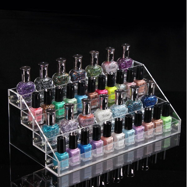 4 Tiers Acrylic Nail Polish Varnish Display Stand Rack Cosmetic Holder Organizer