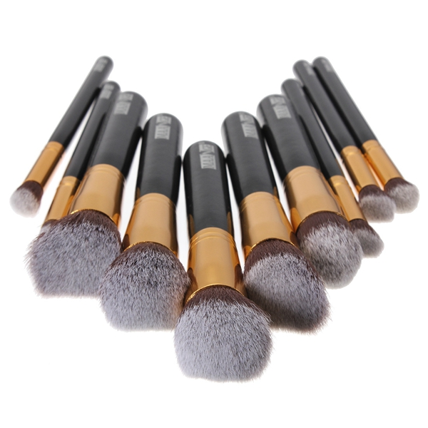 10 pcs Wooden Handle Makeup Kit Cosmetic Brushes Set