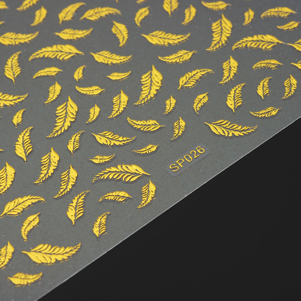 Metallic Gold Adhesive Feather Design Nail Art Sticker Decal