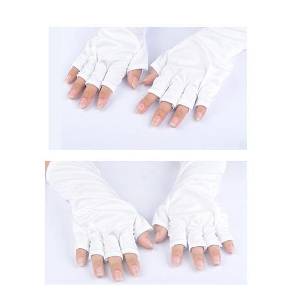 1 Pair White Nail Kit Anti UV Open-toed Protective Gloves
