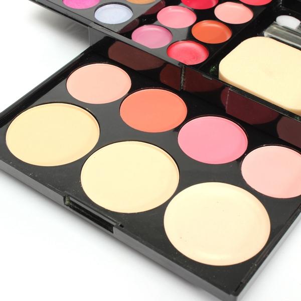 Eyeshadow Blusher Lip Gloss Powder Foundation Puff Makeup Palette Set