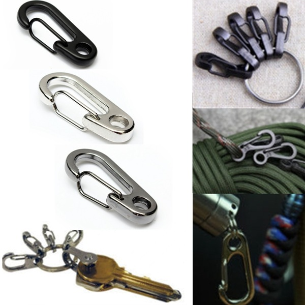 Stainless Steel Split Keychain Carabiners Climbing Key Ring Fishing Tool carabiner hook webbing buckle nylon molle belt hanging key ring outdoor tool