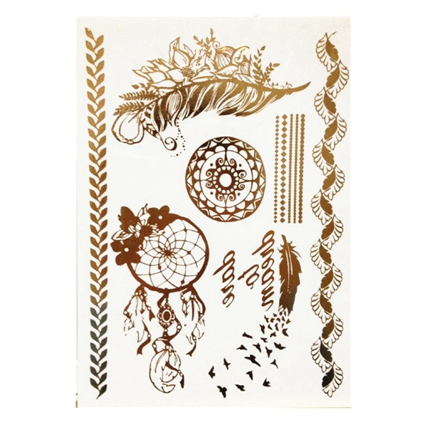 Dreamcatcher Feather Flower Chain Designed Metallic Tattoo Sticker