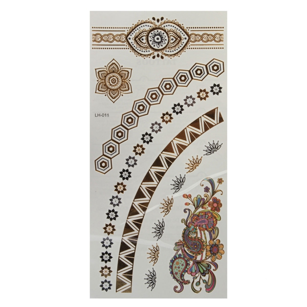 Flower Chain Gold Silver Metallic Temporary Tattoos Body Art Sticker
