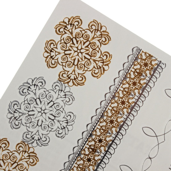 Chain Flower Gold Silver Metallic Temporary Tattoos Sticker Body Art