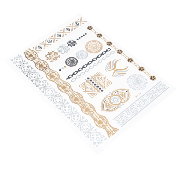 Metallic Temporary Tattoos Sticker Gold Silver Body Art