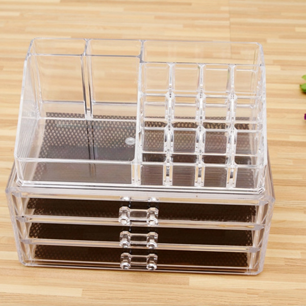 Clear Makeup Case Cosmetic Jewelry Box Storage Drawer Holder Organizer