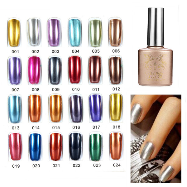 24 Colors Soak off Metal Color UV Gel Nail Polish cnhids in 24w professional 9c uv led lamp 7color top coat base coat 10ml nail gel soak off gel nail polish other nail tools
