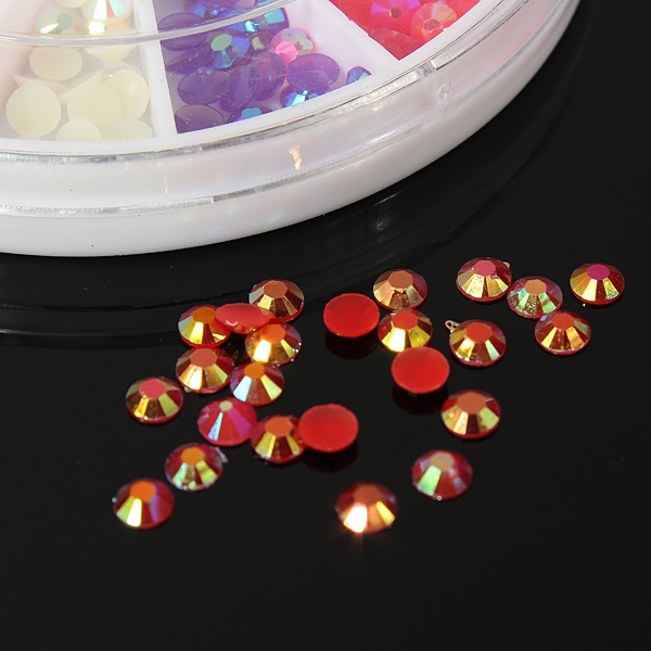 12 Colors Glitter Resin Rhinestone Nail Decoration Wheel