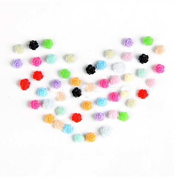 6mm 12 Colors Resin Rose Flower Tip Nail Art Decoration Wheel