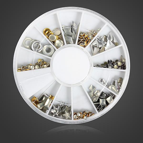 12 Mixed Styles 3D Gold Silver Metal Rivets Nail Decoration Wheel