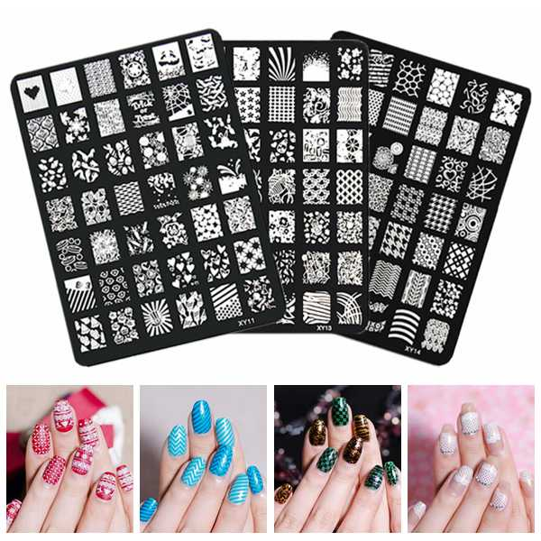 Nail Art Image Printing Plate Polish Stamping Template DIY Tips Design 10pcs nail art stamping printing skull style stainless steel stamp for diy manicure template stencils jh461 10pcs