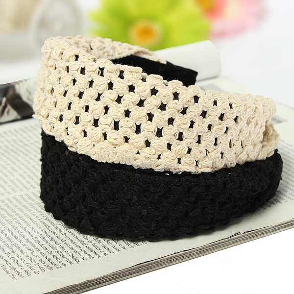 Wide Knitting Hollow Out Headband Hair Hoop Accessories