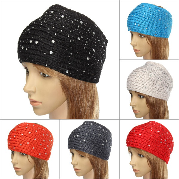 Adjustable Rhinestone Knit Crochet Ear Warmer Headband Hairband