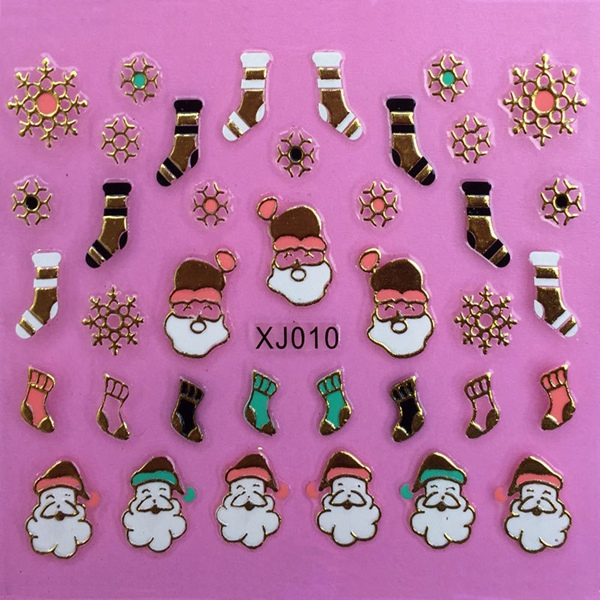 Metal Gold 3D Christmas Series Snowman Santa Claus Nail Art Sticker
