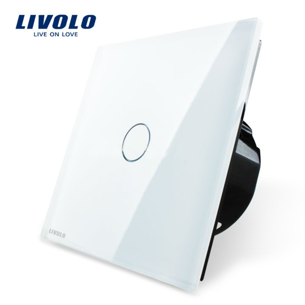 Livolo White Crystal Glass Touch Panel Switch EU Standard VL-C701-11 1 gang home light lamp led touch sensor remote control dimmer white crystal panel wall smart switch us