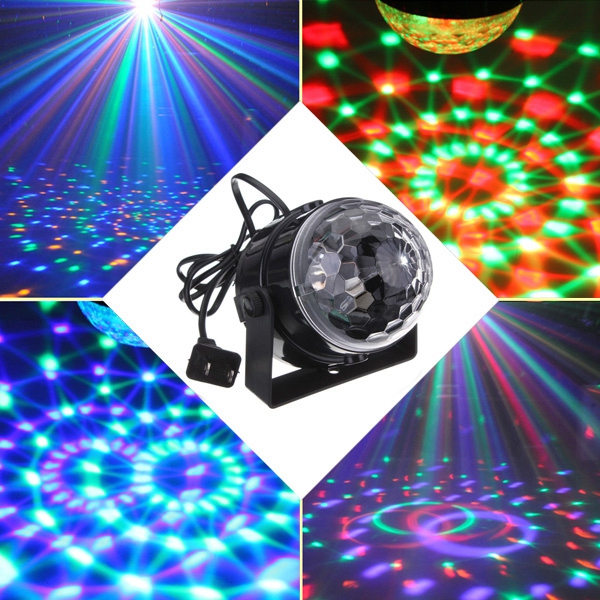 5W RGB Crystal Magic Ball Effect Stage Light Voice Control Party Disco Club 3 lens 36 patterns rg blue led new year christmas party laser projector stage lighting dj disco bar party show stage light