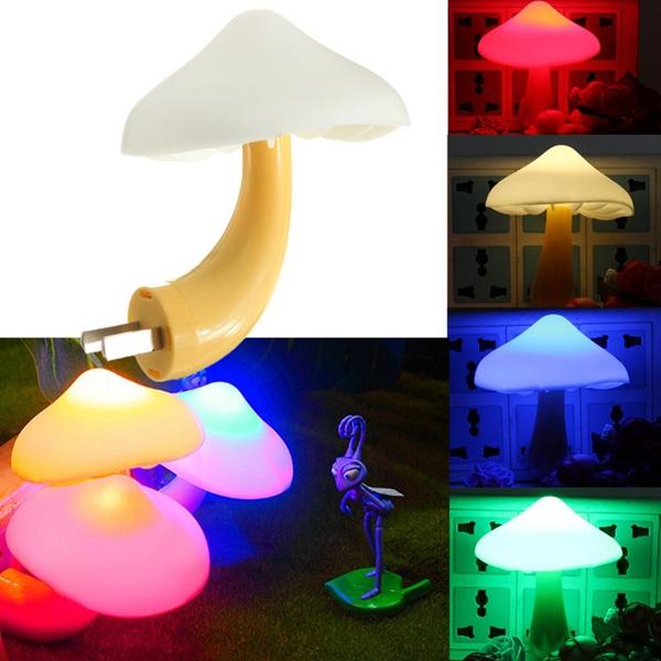 LED Auto Light-controlled Sensor Mushroom Lamp Bedside Night Light AC110V-250V