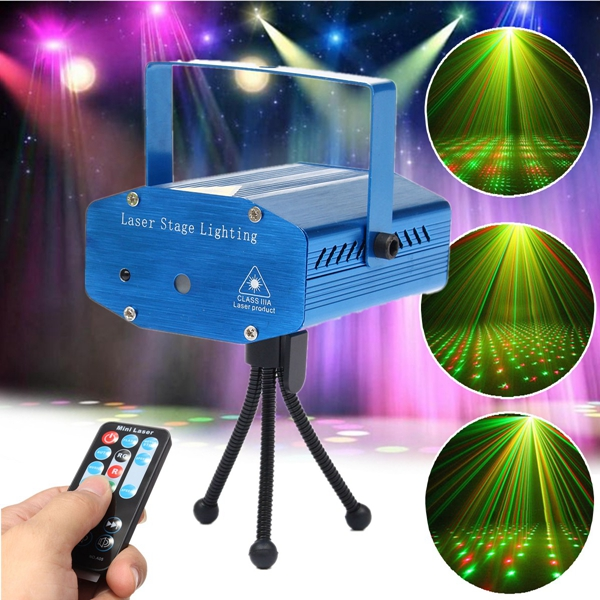 Mini R&G Auto/Voice Control LED Laser Stage Light Projector With Remote For Xmas Party KTV Disco s09b mini 4 in 1 moving party stage laser light projector blue