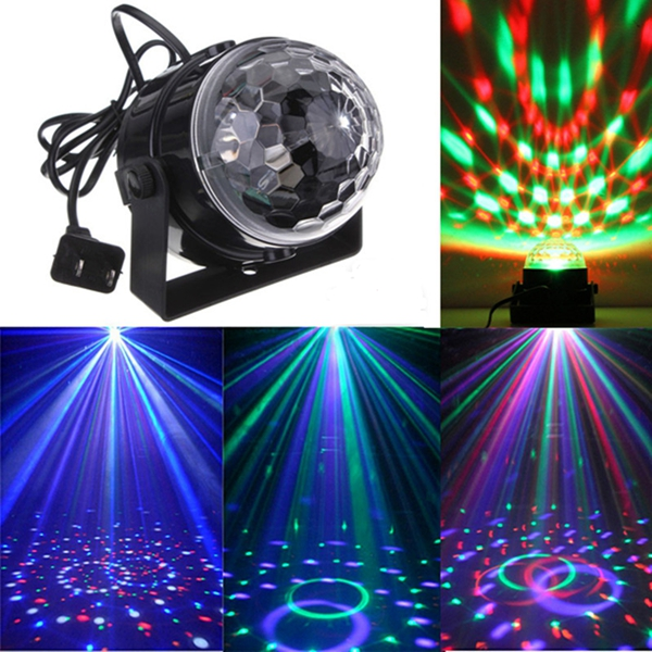 Mini RGB LED Party Disco Club DJ Light Crystal Magic Ball Effect Stage Lighting 6w e27 led stage light rgb lamp with voice activated mp3 projector crystal magic ball rotating disco dj party stage lighting