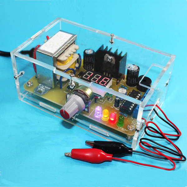 EU 220V DIY LM317 Adjustable Voltage Power Supply Board Kit With Case lm317 adjustable dc power supply voltage diy voltage meter electronic training kit parts