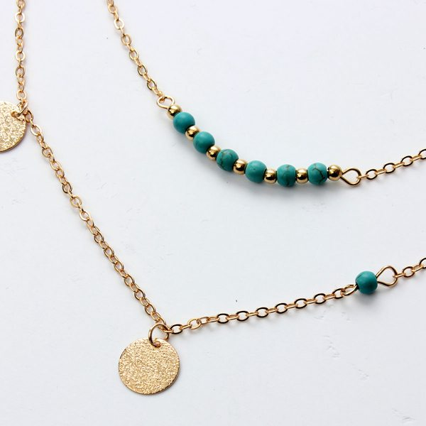 Sequin Turquoise Beads Multilayer Necklace