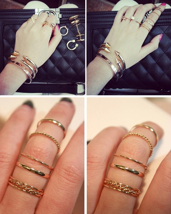 Gold Joint Rings Set