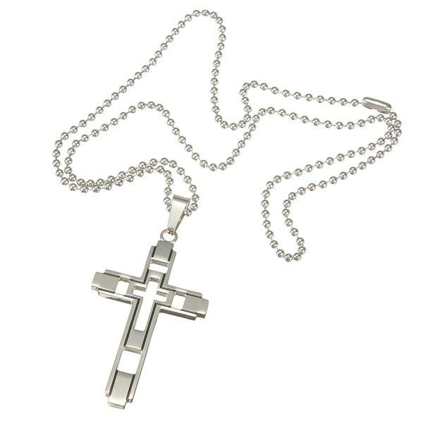 Men Hollow Double Cross Necklace