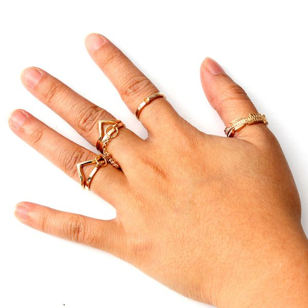 Gold Plated Leaf Rings
