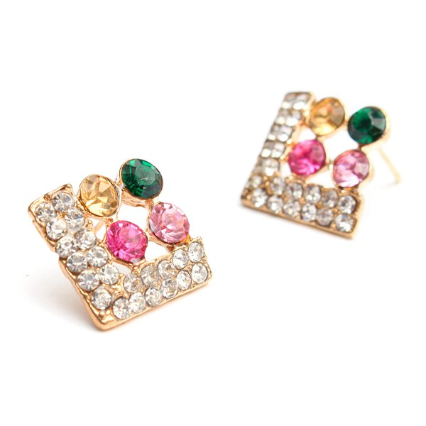 Rhinestone Clovers Square Stud Earrings