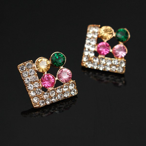 Rhinestone Four Leaf Earrings