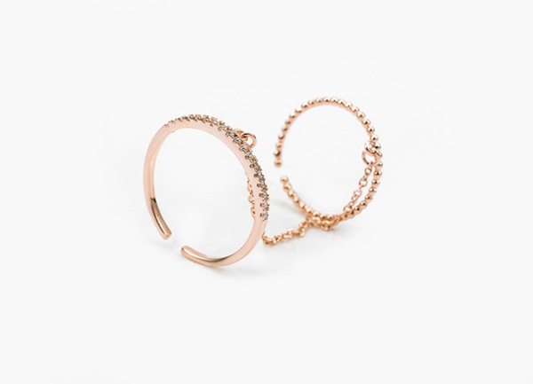 Italina Rhinestone Double Finger Ring