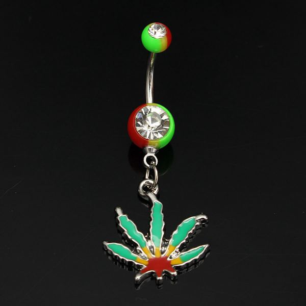 Maple Leaf Pendant Belly Ring