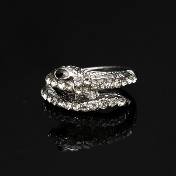 Punk Rhinestone Snake Finger Ring