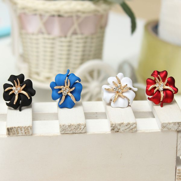 Gold Plated Rhinestone Flower Earrings